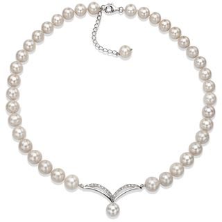 @Overstock - DaVonna Sterling Silver White Freshwater Pearl 18-inch Necklace (10-11 mm) - Attract every one with this adorable cultured pearl necklace. Necklace features white 10-11 mm round freshwater pearls with a sterling silver charm in the middle for added beauty.  http://www.overstock.com/Jewelry-Watches/DaVonna-Sterling-Silver-White-Freshwater-Pearl-18-inch-Necklace-10-11-mm/8874654/product.html?CID=214117 $110.49
