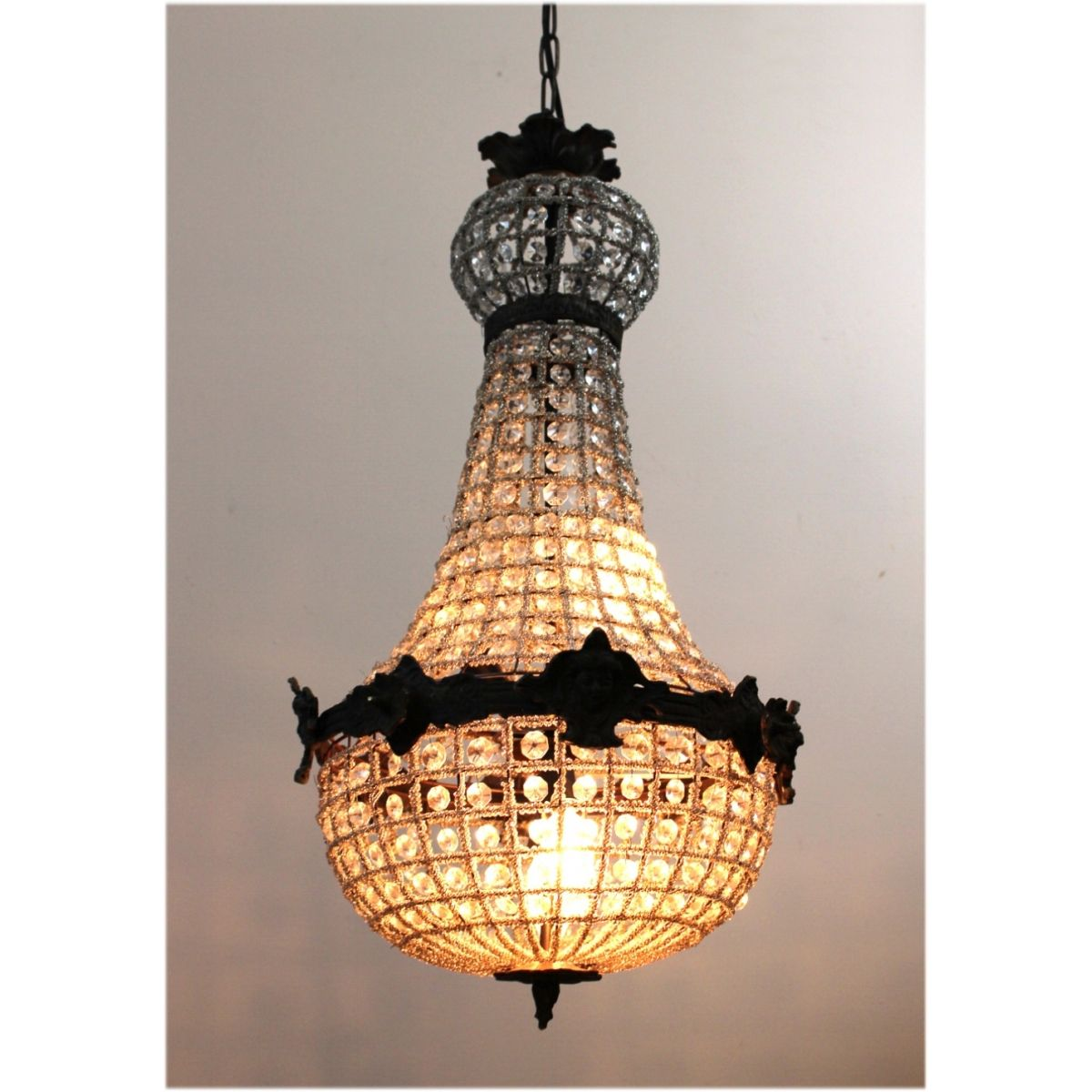 Egyptian Crystal Antique style Chandelier w Victorian Faces Aged – Victorian Style Chandeliers
