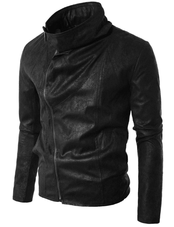 Doublju Mens Rider Faux Leather Jacket BLACK (USXL) at