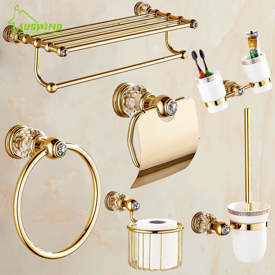 European Gold Bathroom Hardware Set Antique Crystal Bathroom ...