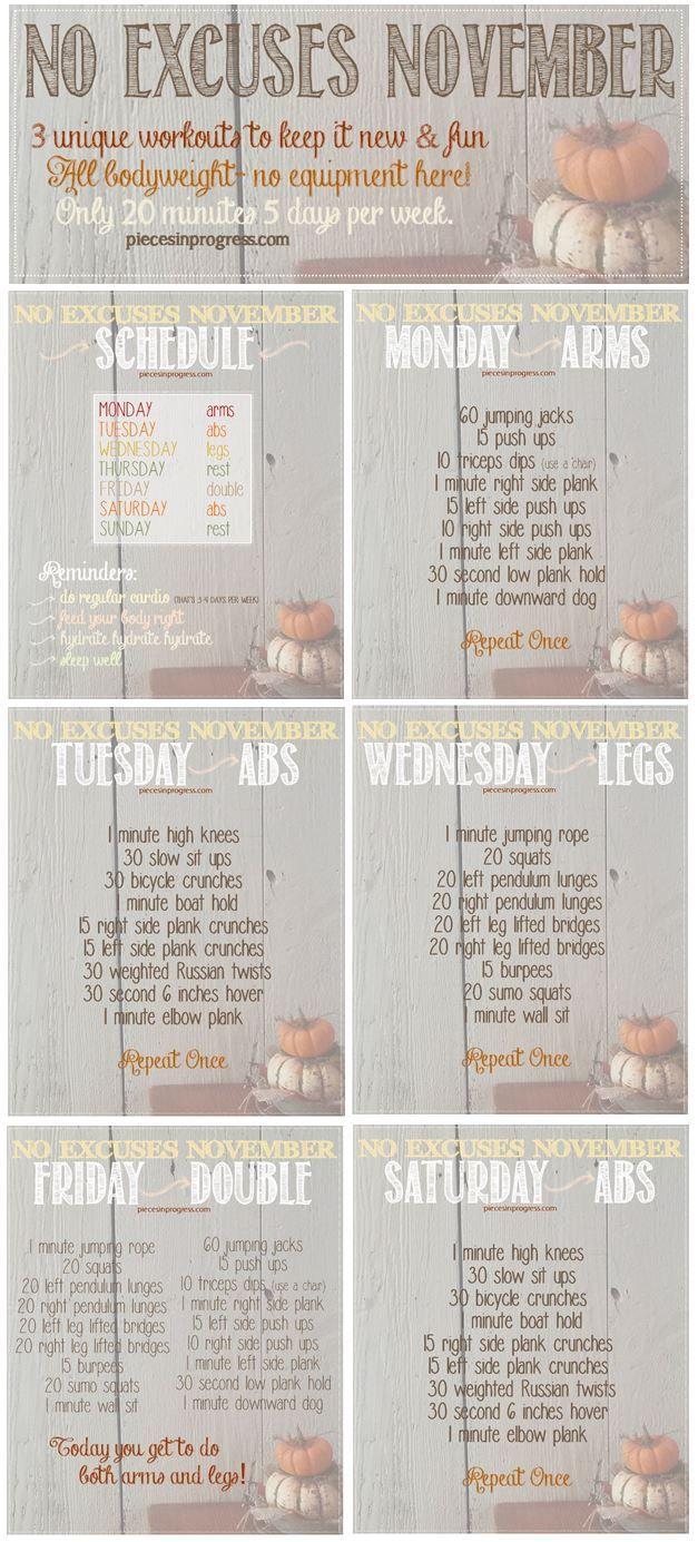 No Excuses November Workout Plan