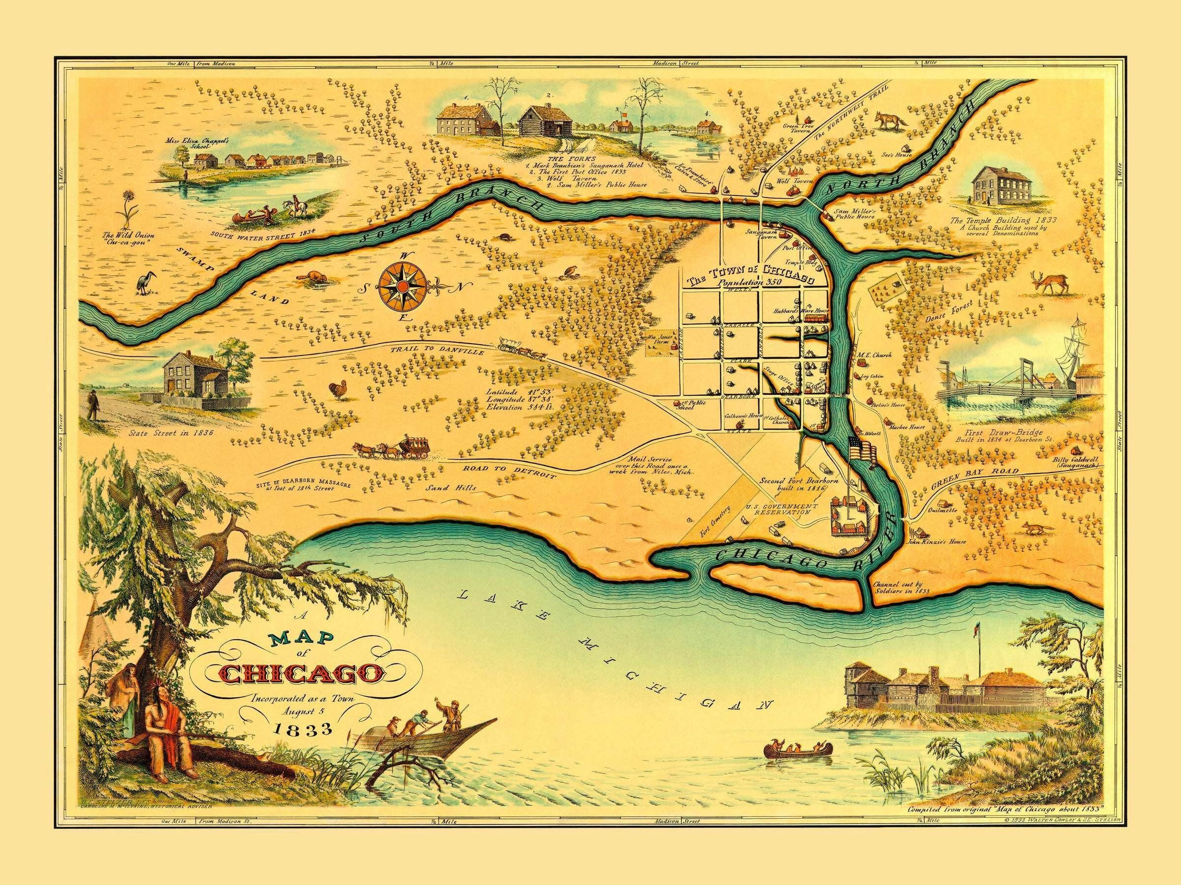 18x24 1833 Historic Map of Chicago Illinois Vintage Style Wall Map