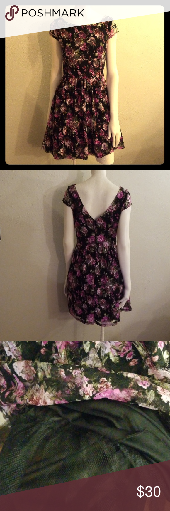 B smart black floral lace sleeved dress in my posh picks