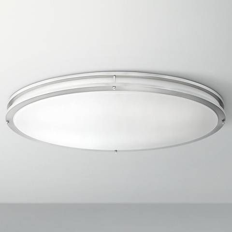 Leeds 32 1 2 wide satin nickel oval led ceiling light 8f239