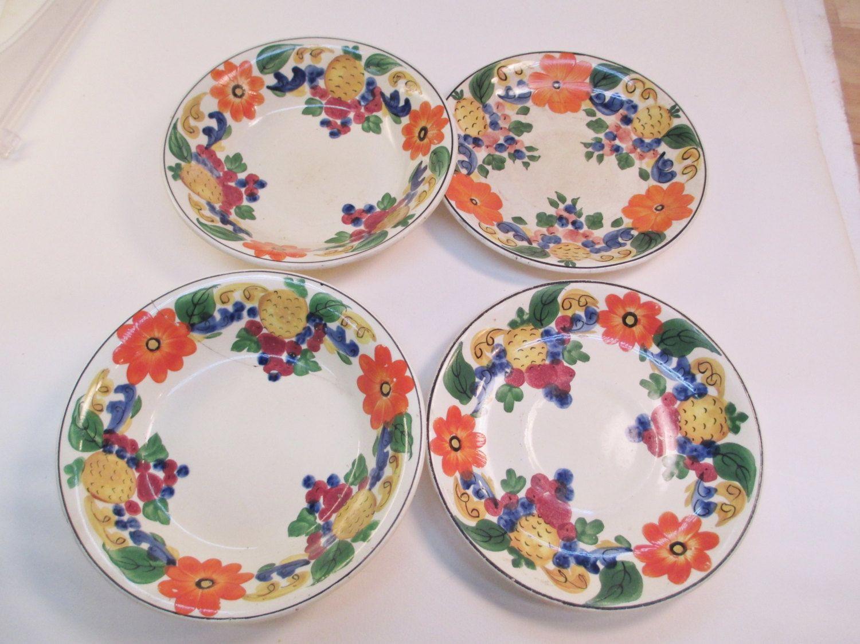 Berry Bowl Blueberry Decor Pattern Ceramic Pottery Dish Coin Custard Dish dessert bowl blue White
