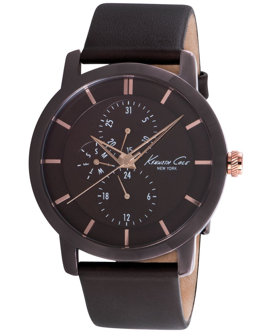 Kenneth Cole New York Men S Brown Leather Strap Watch 44mm Kc8107
