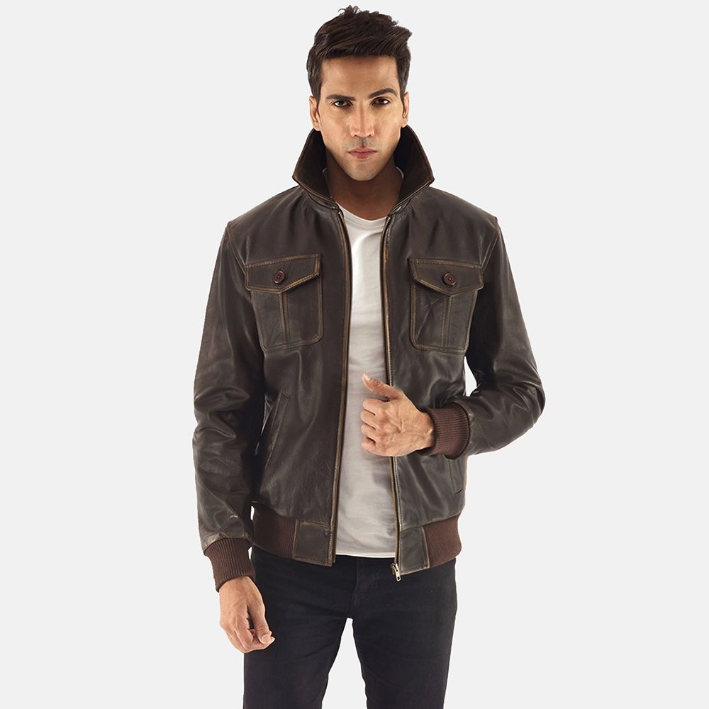 f9f8372299e Mens Aaron Brown Leather Bomber Jacket Outer Shell  Real Leather Leather  Type  Cowhide Leather Finish  Burnishing Inner Shell  Quilted viscose  lining ...
