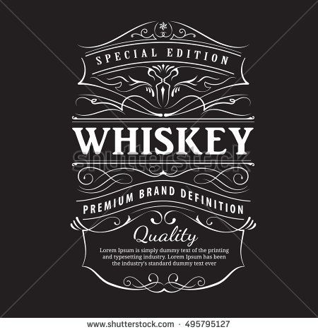 Whiskey Label Vintage Hand Drawn Ornament Typography Blackboard Border Vector Templates