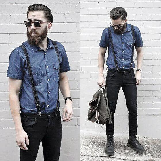 Wie trägt man Hosenträger mit Jeans für Männer – 30 Male