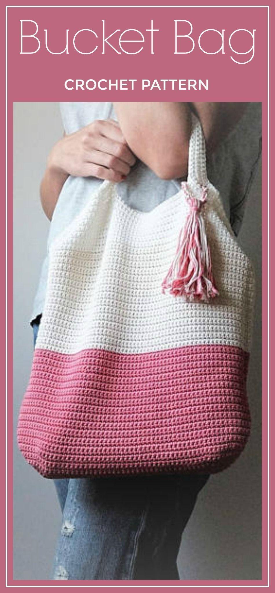 CROCHET PATTERN Crochet Tote Bag PATTERN, Bucket Bag, Boho Crochet ...