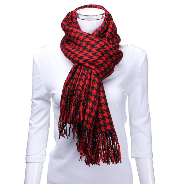 Zanzea unisex de lã grossa houndstooth 4colors lenço