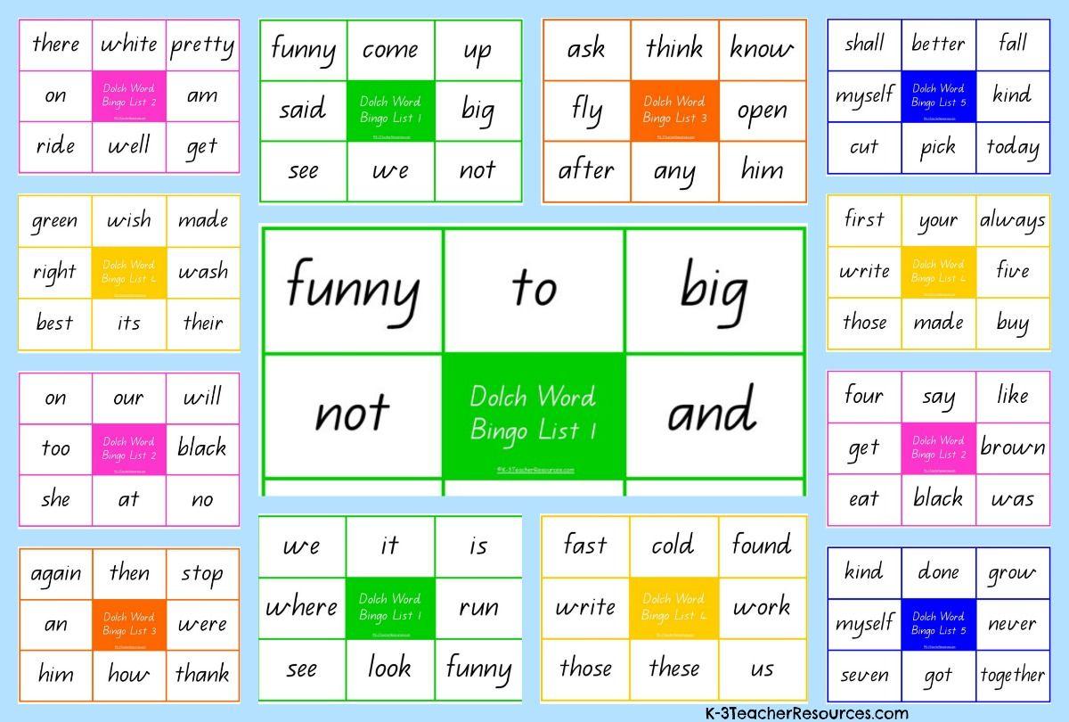 Printable Dolch Sight Word Bingo