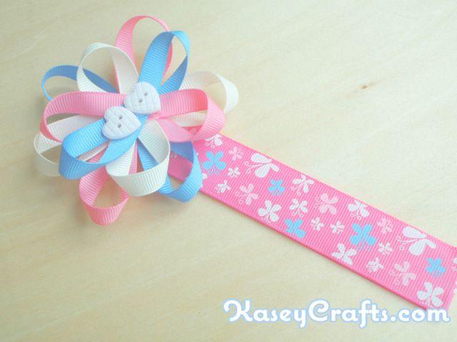 How To Make Flower Ribbon Bookmark For Kids Using Grosgrain