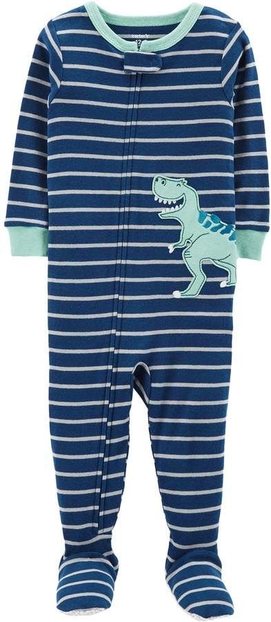 4f86d9187 Toddler Boy Carter s Striped T-Rex Dinosaur Footed Pajamas in 2018 ...