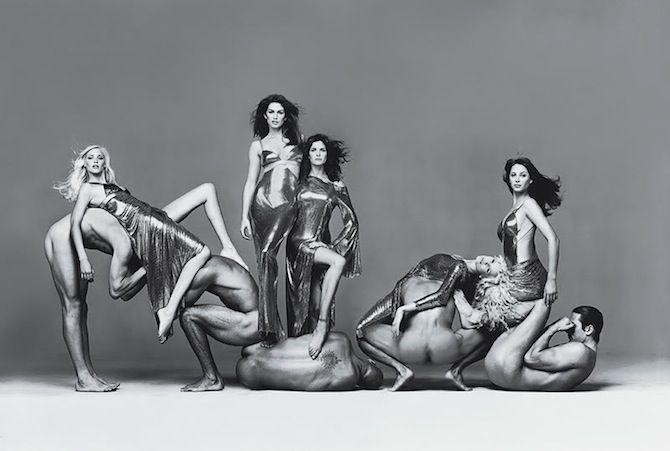 Nadja Auermann, Christy Turlington, Claudia Schiffer, Cindy Crawford y Stephanie Seymour. Richard Avedon para Gianni Versace Couture 1994