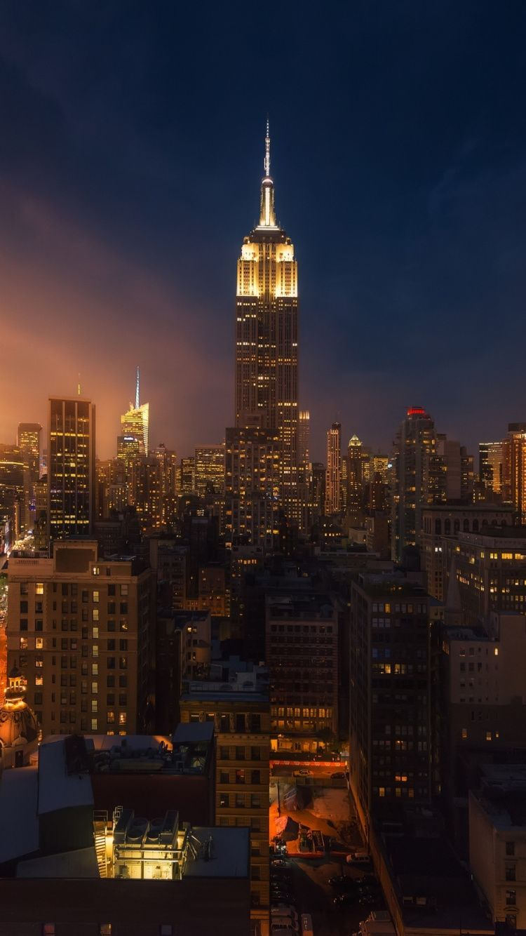 Cityscape New York Empire State Building Night 750x1334 Wallpaper Iphone Wallpaper Usa Cityscape Wallpaper New York Buildings