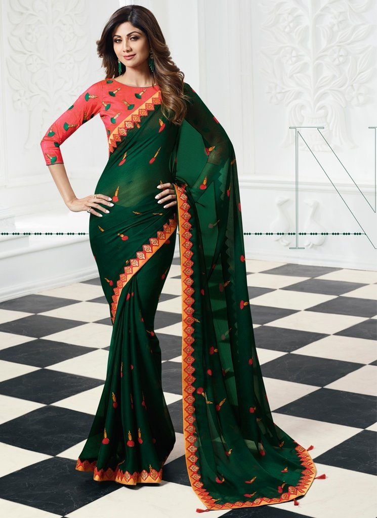 2a6bd9beb23462 Buy Online Shilpa Shetty Dark Green Colour Chiffon Fabric Saree SF1401
