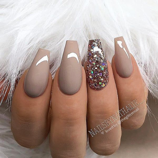 """Photo of TheGlitterNail 🎀 Get inspired! on Instagram: """"✨✨🦋✨✨ Warm Taupe with Glitter Accent on Coffin Nails 👌 • 💅 Nail Artist: @nailsbynathalie__ 💝 Follow her for more gorgeous nail art designs!…"""""""