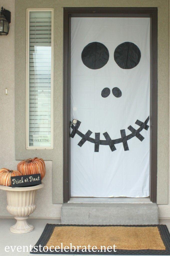 Halloween Skull Door Decoration (plus other fun ideas for decorating - halloween office decorating ideas