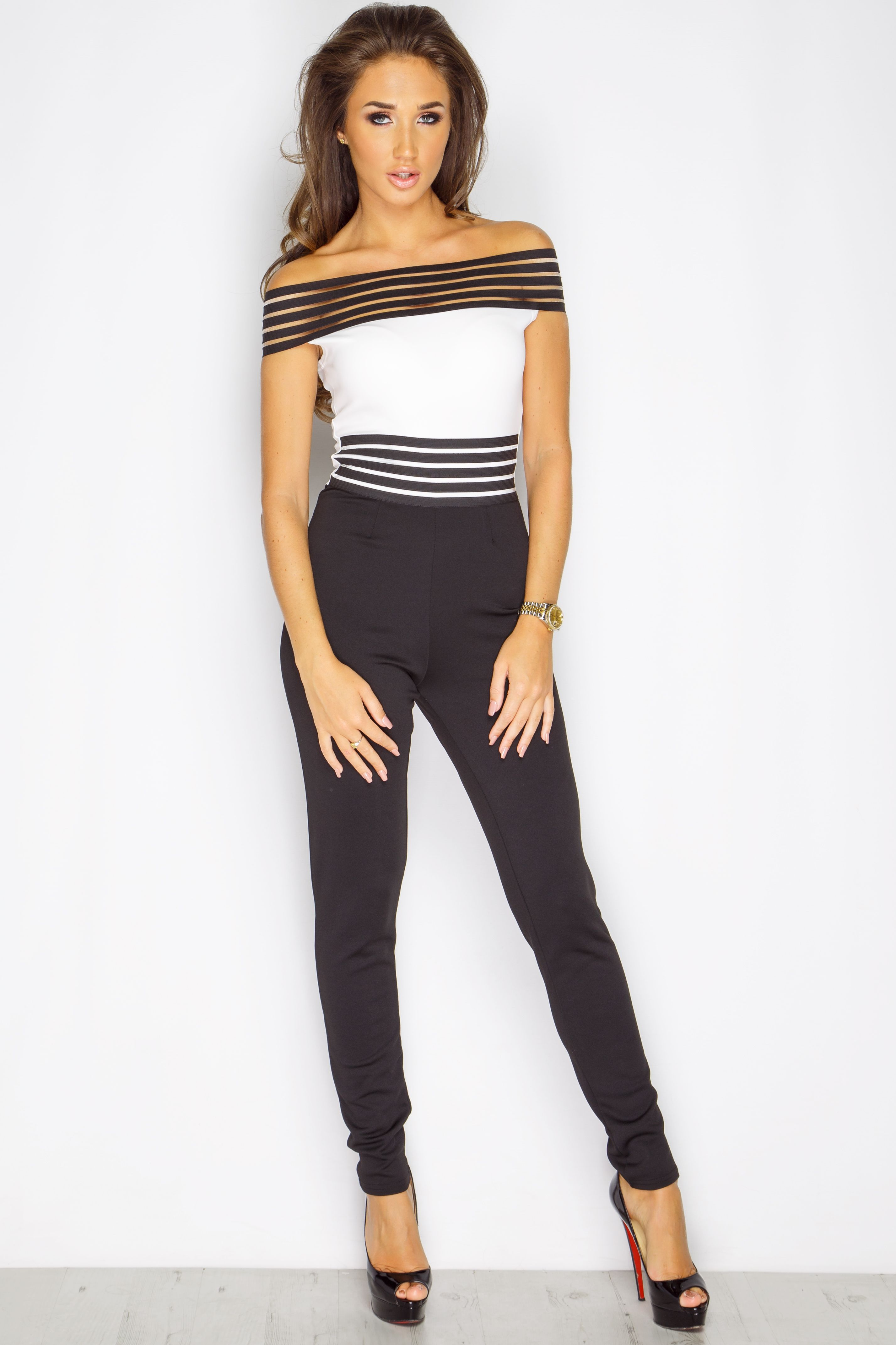 d6042f1e25 Megan McKenna Monochrome Off The Shoulder Jumpsuit at misspap.co.uk