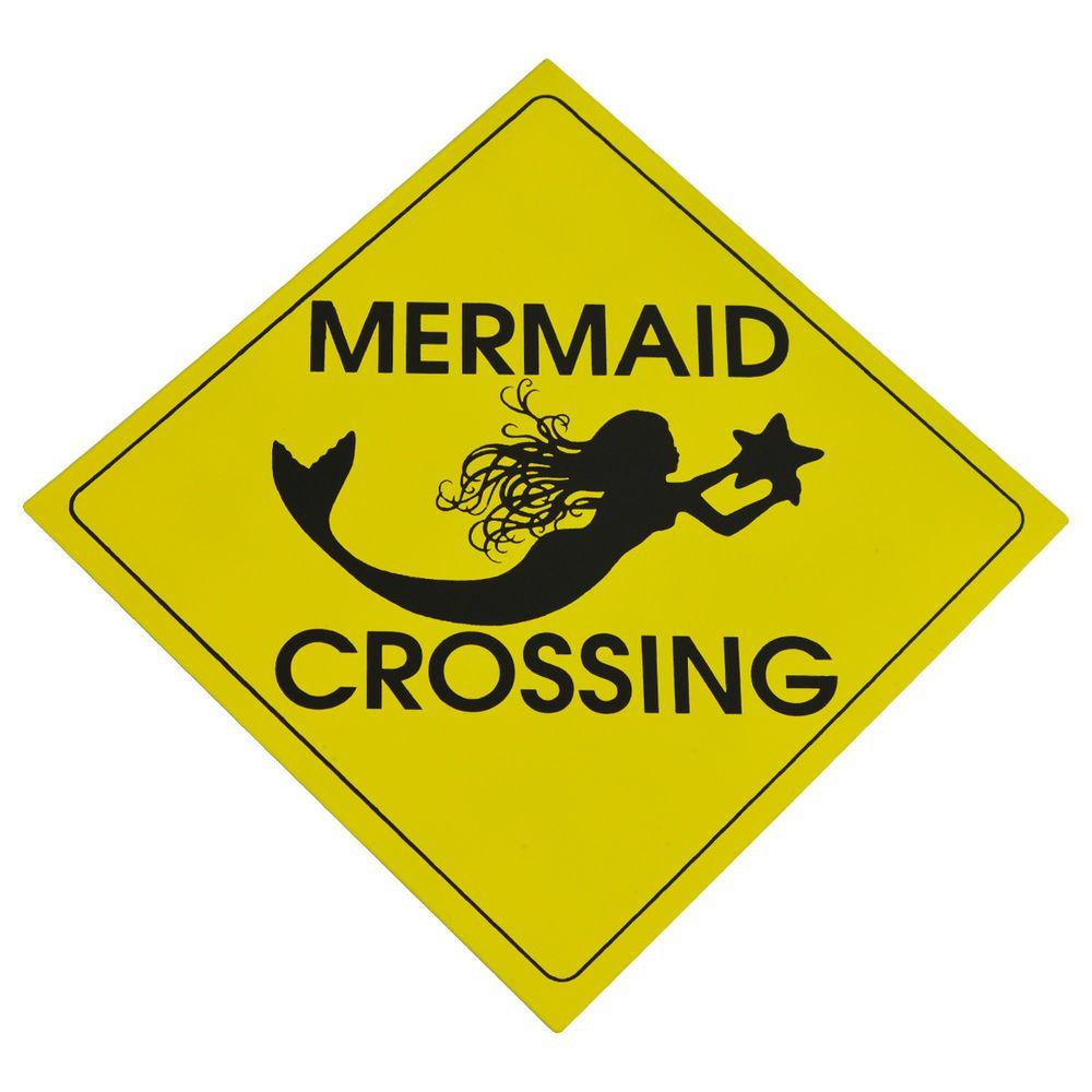 Caution MERMAID CROSSING Metal Sign Nautical Beach House/Coastal ...