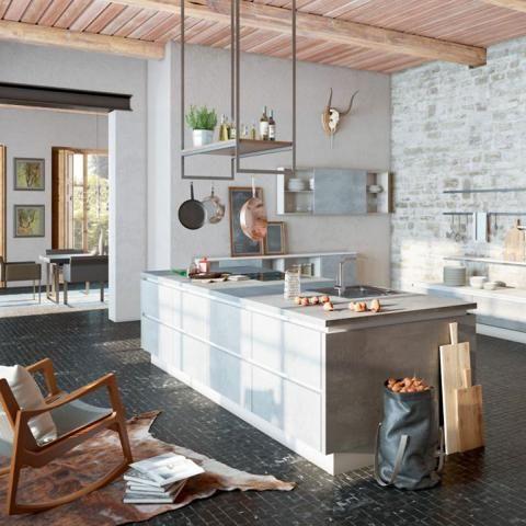 Arbeitsplatte aus Beton von Wellmann Wohnen, Wohnung