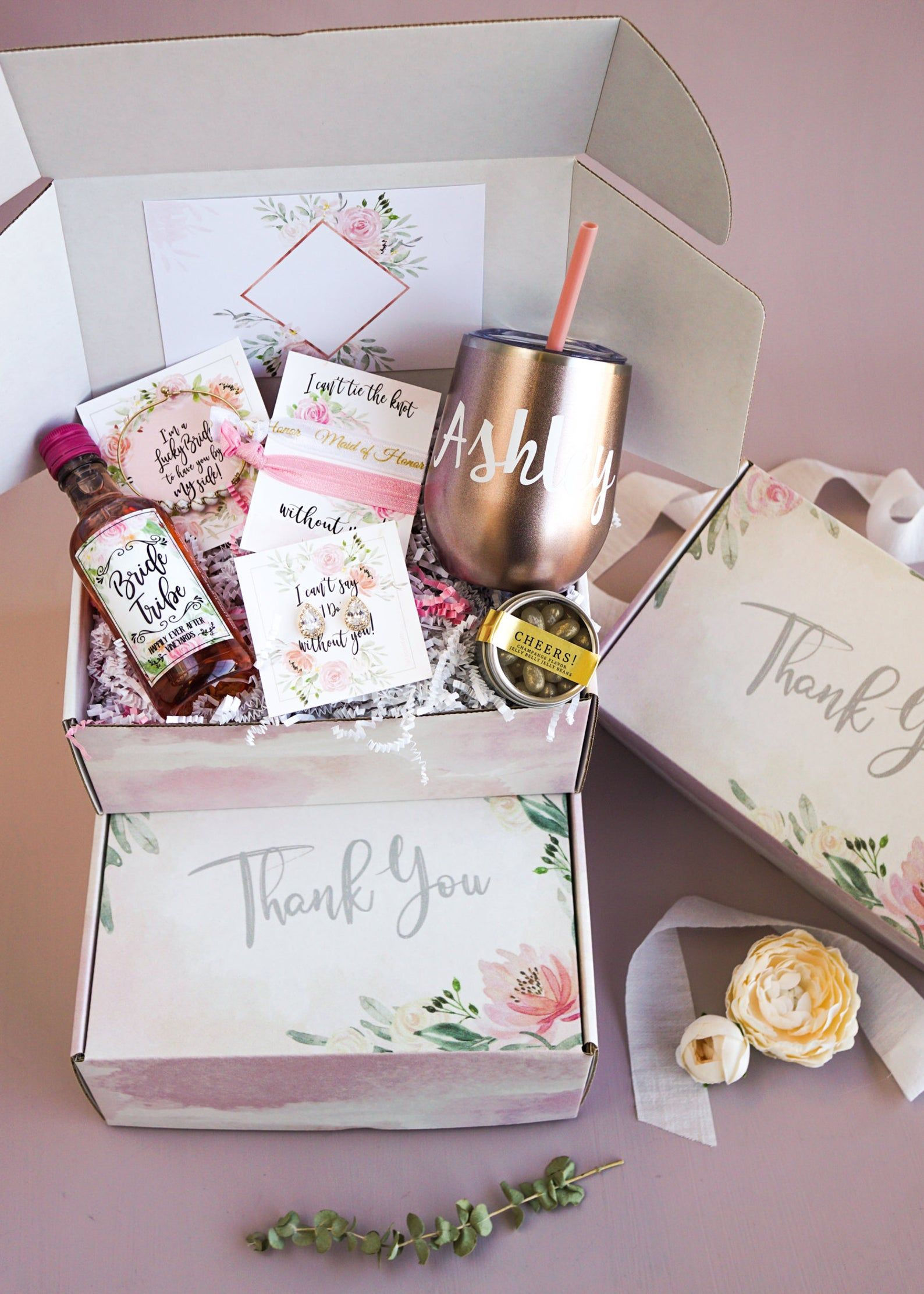 Bridesmaid thank you box thank you gift for maid of honor