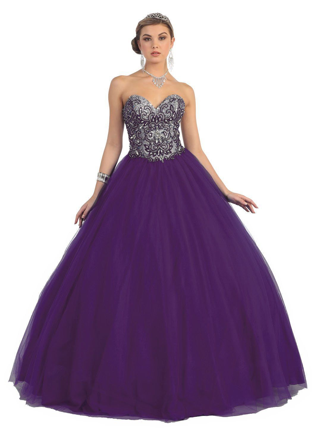 Quinceanera Ball Gown Plus Size Prom Long Dress | Prom long, Ball ...