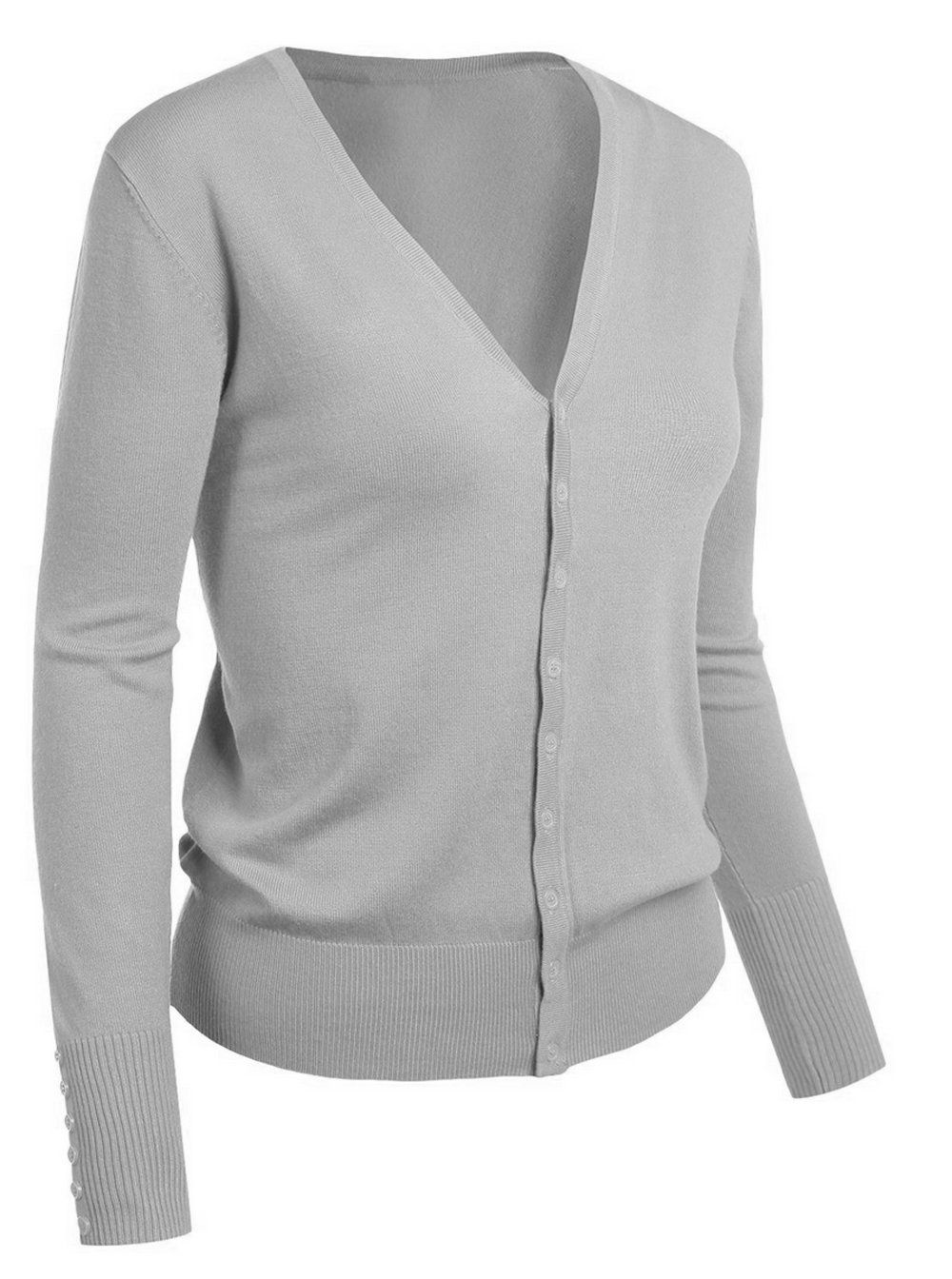 Emmalise Women's Classic V-Neck Button Down Cardigan Sweater at ...