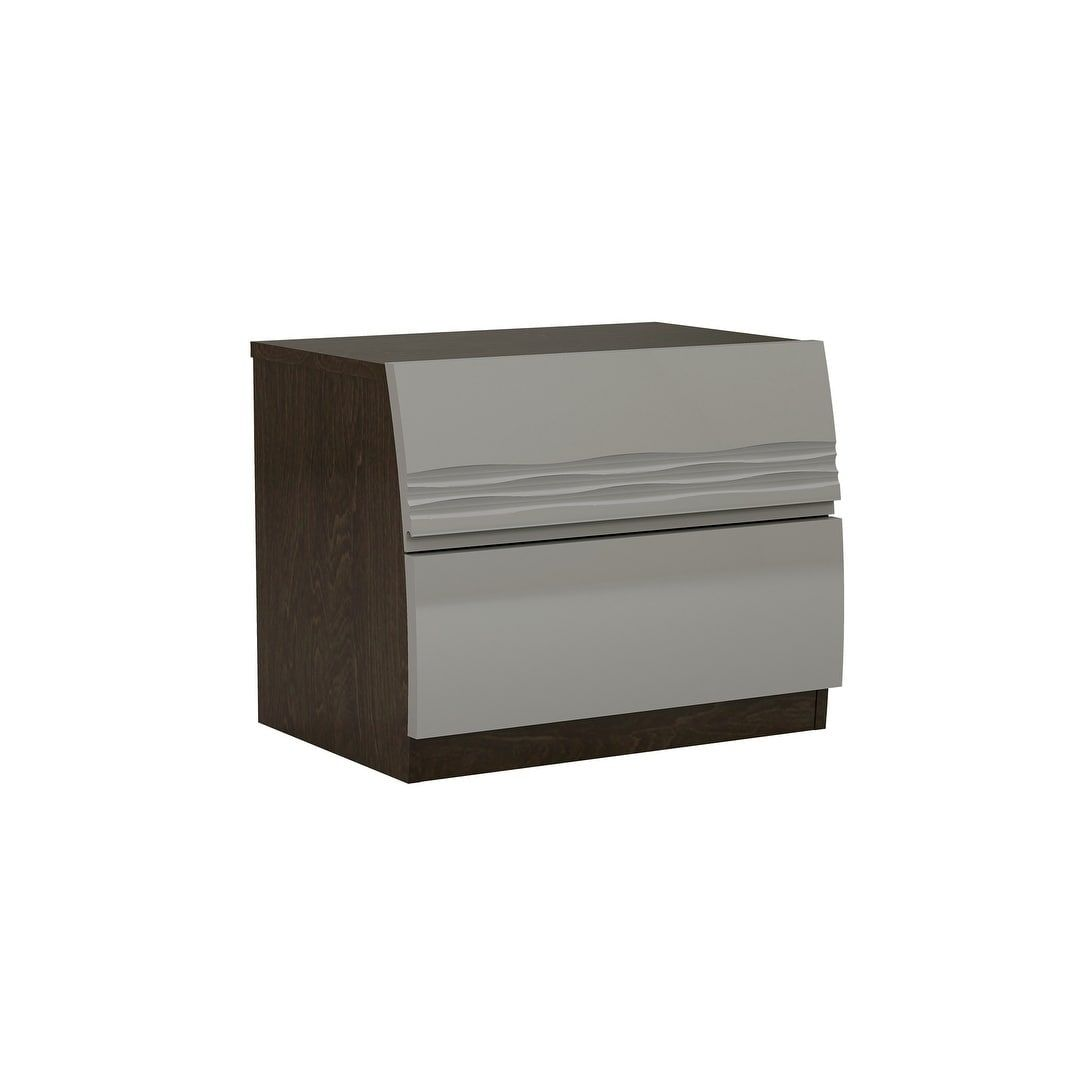 American Eagle Furniture Lacquered Nightstand, Grey, Size 2 Drawer (MDF)