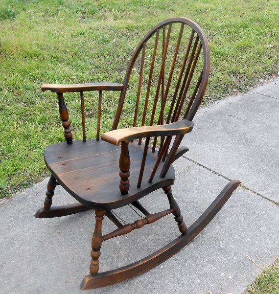 Vintage Windsor Solid Wood Spindle Rocker Braceback Knuckle Arm Antique Rocking Chair Rocking Chair Windsor Rocking Chair Chair