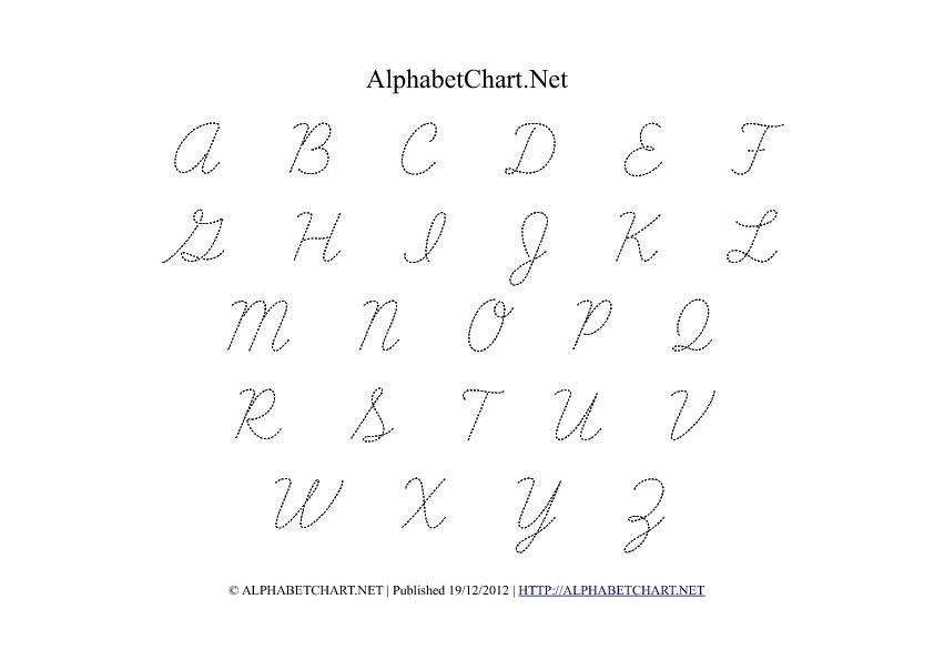 free printable cursive alphabet cursive uppercase alphabet letter tracing chart in pdf. Black Bedroom Furniture Sets. Home Design Ideas