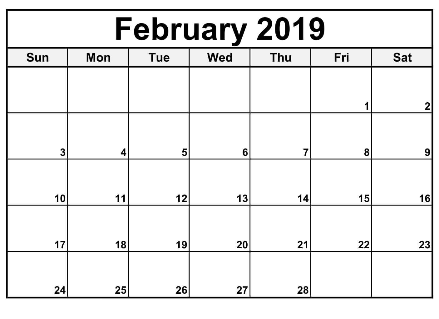 February 2019 Calendar Editable Blank Calendar Template