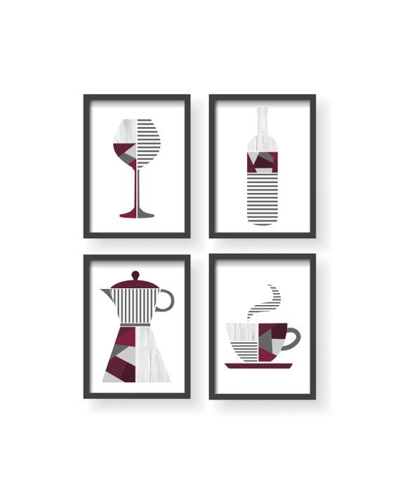 Best Burgundy Geometric Decor Purple Kitchen Print Burgundy 400 x 300