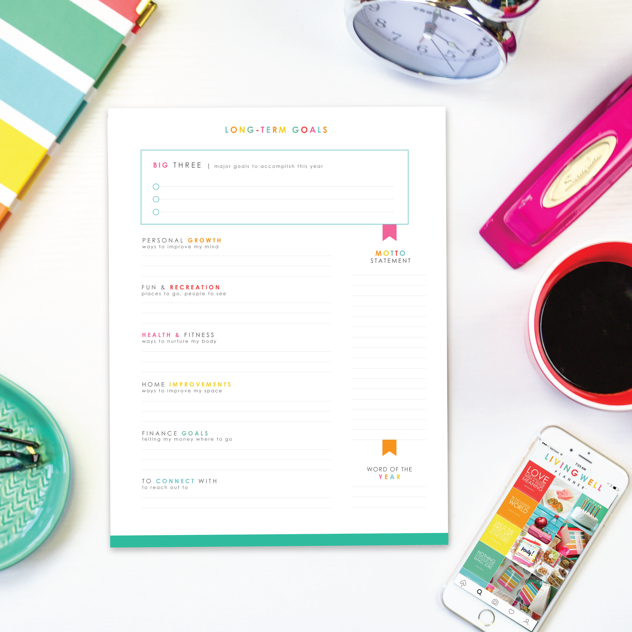 Long Term Goal Worksheet Digital Download