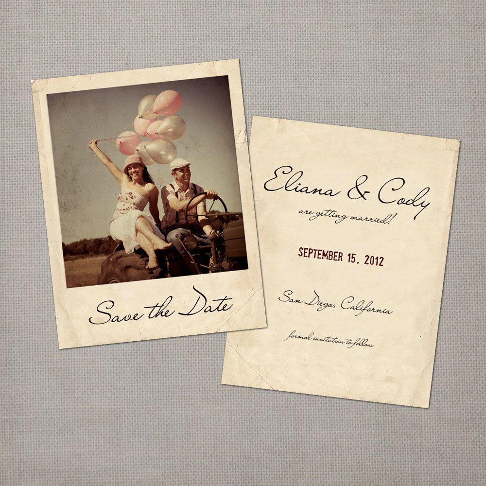 Eliana vintage polaroid save the date card via - Polaroid karten ...
