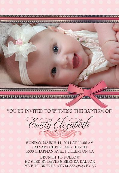 Girly Pink Polkadot Baptism Invitation Baptism Pinterest - invitation for baptism girl