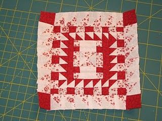Another block that I apparently dived right into. Sorry.  I've completed the 1/2 square triangles  and the centre square.  The centre was as...