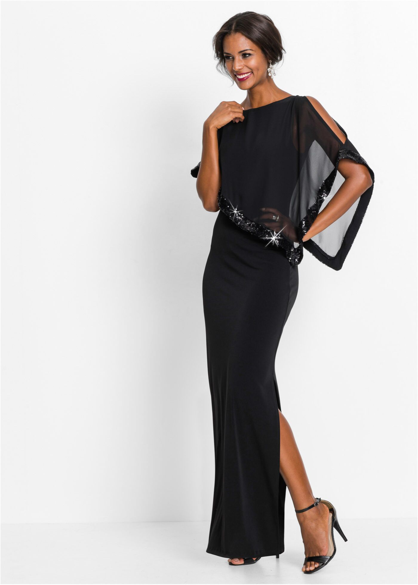 festliches abendkleid mit volant - schwarz | kleider