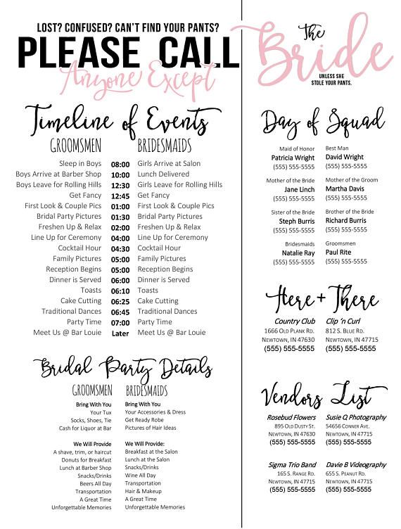 Editable Wedding Timeline Call Anyone Except The Bride Edit In Word Phone Numbers And Day Of Schedule Pinterest