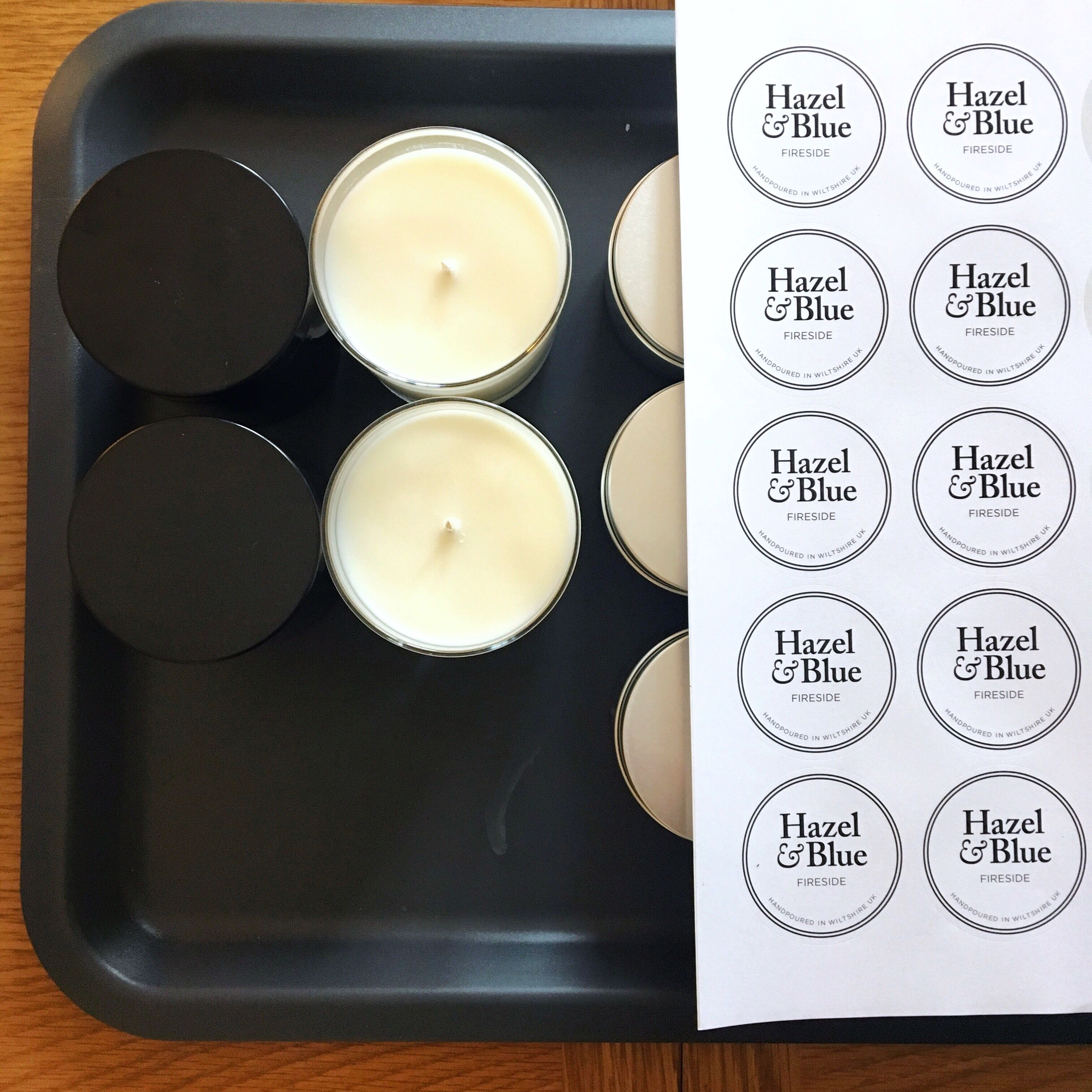 Candle labelling I use two to three labels on these