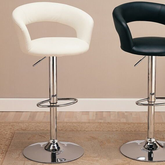 120347 White Leather Like Vinyl Upholstered Bar Stool With