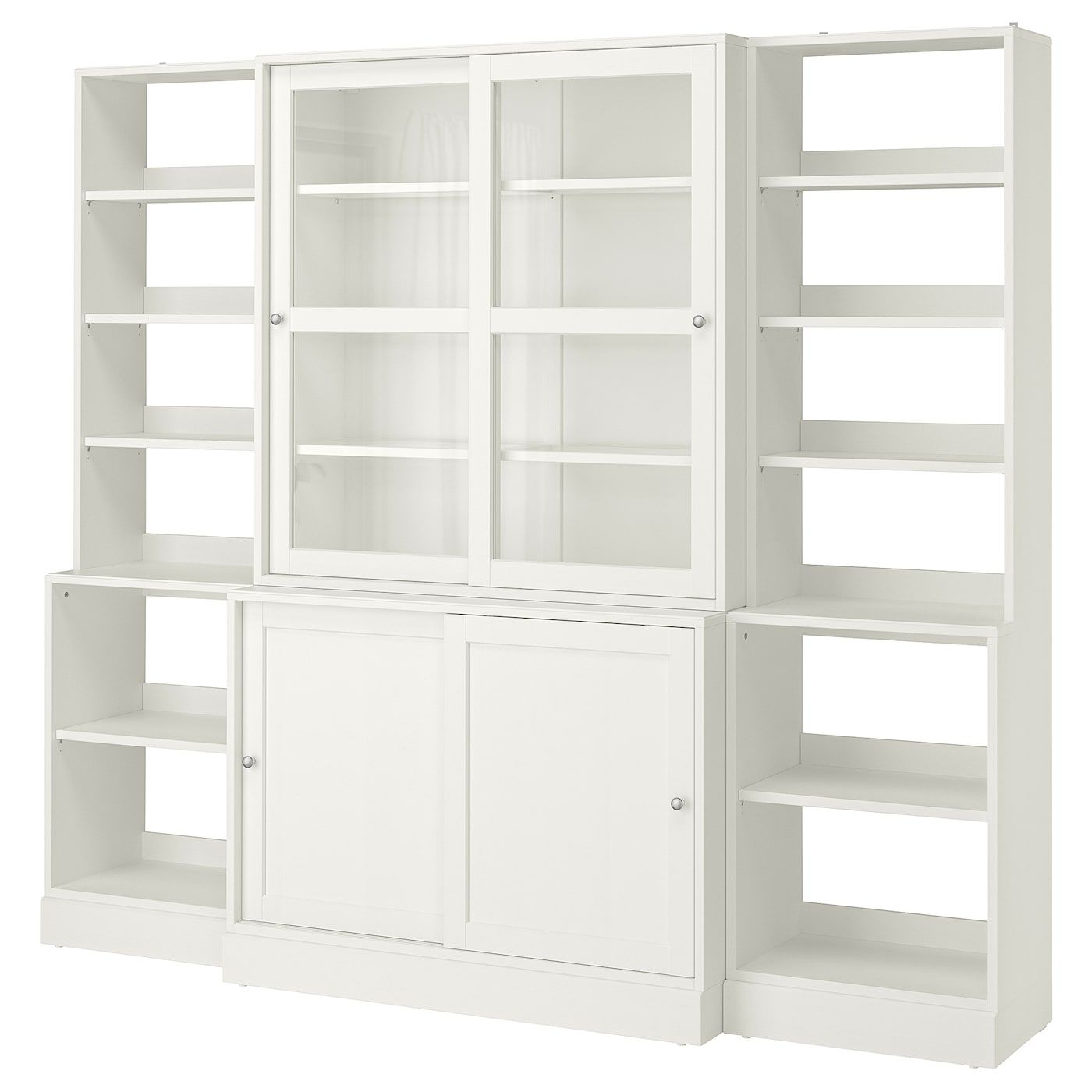 Ikea Havsta Combi Armario Puert Corred Vidrio Blanco Hecha Con Madera Proveniente De Fuentes Sostenibles La In 2020 Sliding Glass Door White Bookcase Glass Door