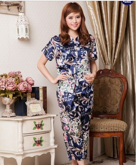 Short Sleeve Single Breasted Flower Printed Sleepwear Suit Blue - $29.52