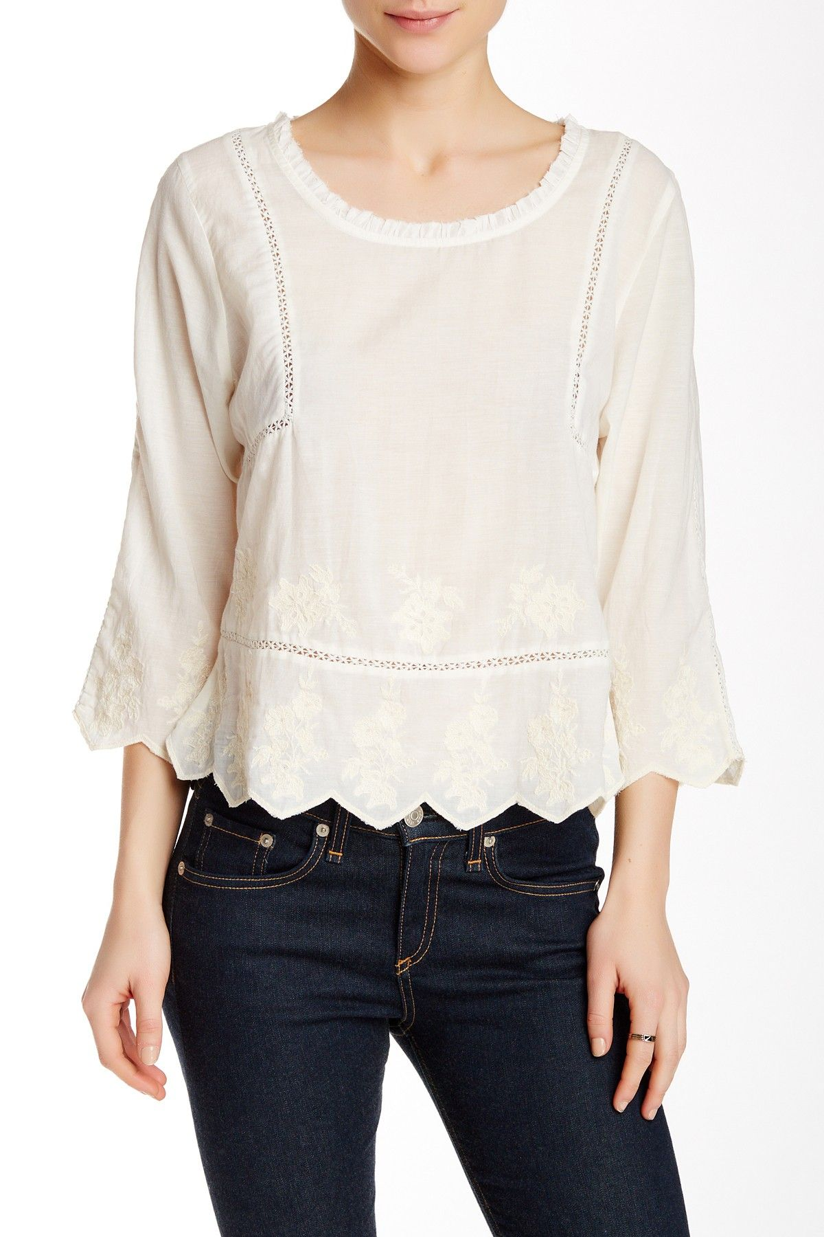 Sofia Embroidered Voile Blouse