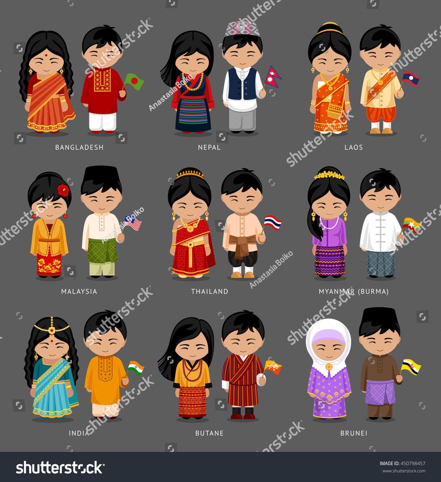People In National Dress Burma Myanmar Brunei Bhutan