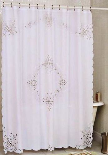 Pristine White Battenburg Open Lace Fabric Shower Curtain 70 X 72