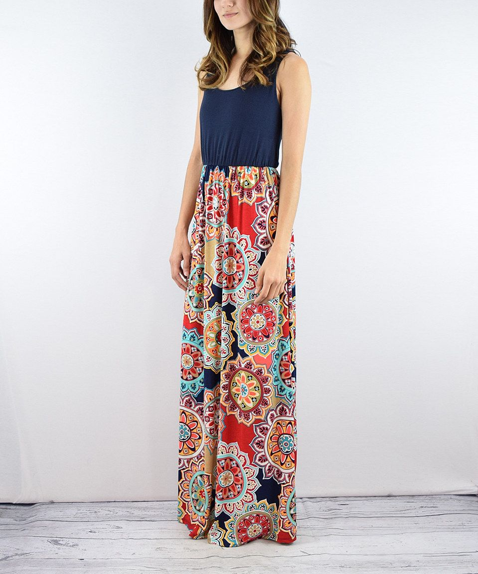 Look at this zulilyfind éloges navy ornate floral maxi dress by