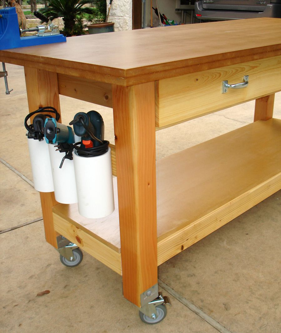 Rolling Workbench With Drill Holders Rolling Workbench Workbench Woodworking Workbench