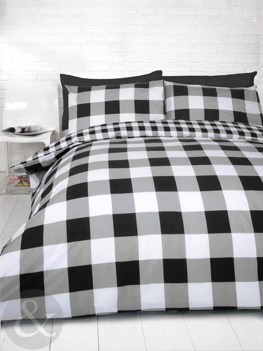 gingham check duvet cover - cotton blend reversible bedding quilt